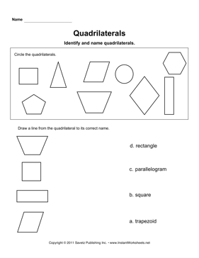 Quadrilaterals — Instant Worksheets