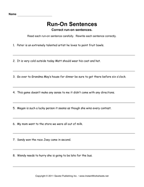 Printables Run On Sentences Worksheet run on sentences instant worksheets
