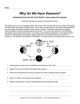 Seasons Upper Comprehension — Instant Worksheets