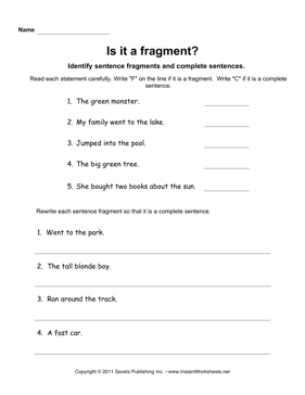 Printables Sentence Fragment Worksheet sentence fragments instant worksheets