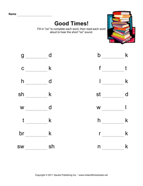 Short OO Phonics — Instant Worksheets