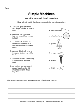 Simple Machines — Instant Worksheets