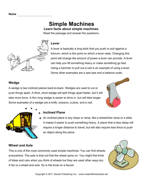 Simple Machines Comprehension — Instant Worksheets