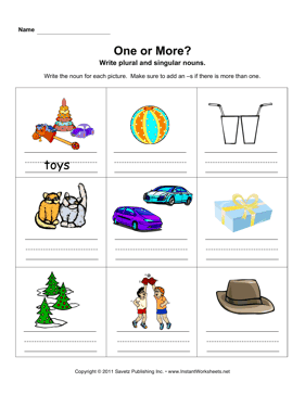 Singular And Plural Worksheets For Kindergarten & singular and ...