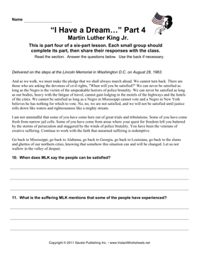 Social Studies MLK Speech Part 4