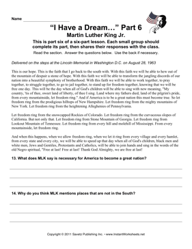 Social Studies MLK Speech Part 6
