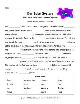 Solar System Facts — Instant Worksheets