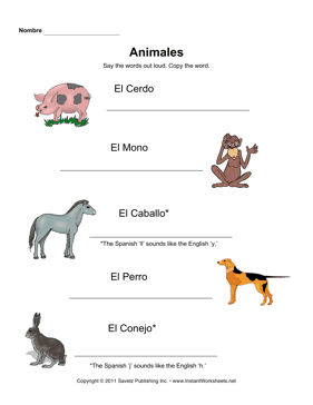 Spanish Animals Elem