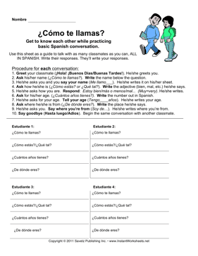 Spanish Basic Conversation Exercise