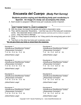 Spanish Body Parts Survey