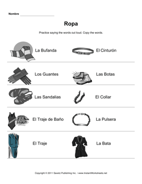Spanish Clothing Elementary 2