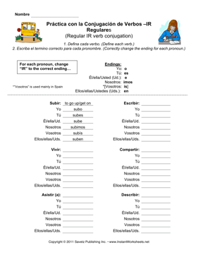 All Worksheets » Spanish Verb Worksheets - Free Printable ...