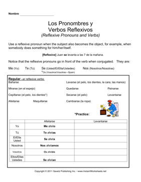 worksheets spanish reflexive verbs worksheet opossumsoft worksheets and printables. Black Bedroom Furniture Sets. Home Design Ideas