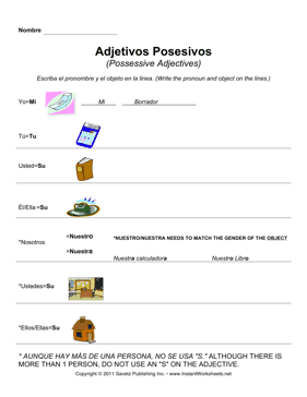 Spanish Possessive Adjectives 1