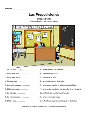 Prepositions In Spanish Worksheet - Vintagegrn