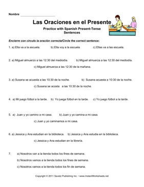 Spanish Present Tense Sentences MS HS