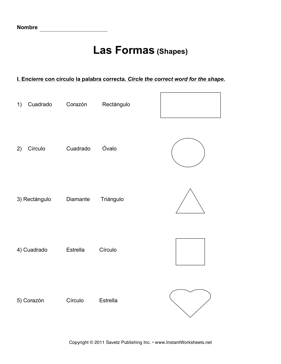 Spanish Shapes — Instant Worksheets