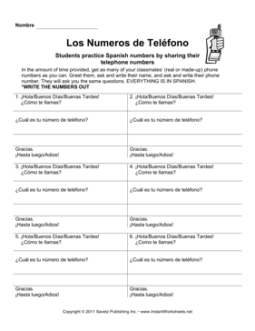 Spanish Telephone Number Conversation