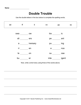 Spelling Double Letter Mix 2