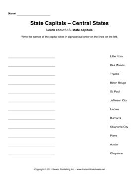 State Capitals Alphabetize Central