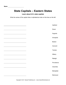 State Capitals Alphabetize Eastern