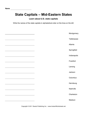 State Capitals Alphabetize Mid-Eastern