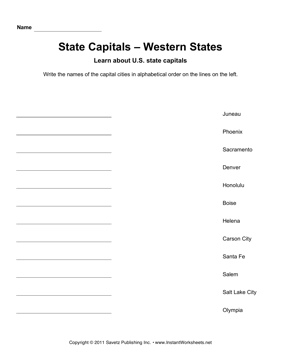 State Capitals Alphabetize Western