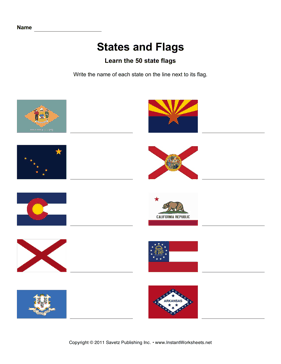 States Flags Names DE AR