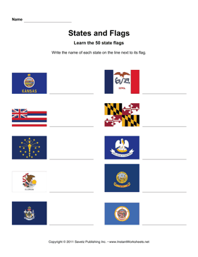 States Flags Names KS MN