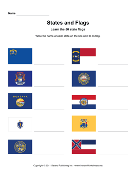 States Flags Names NV MS