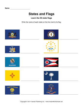 States Flags Names PA ND
