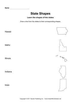 States Shapes Lines HI IA
