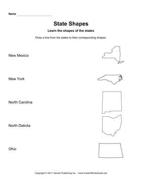States Shapes Lines NM OH