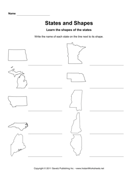 States Shapes ND IL