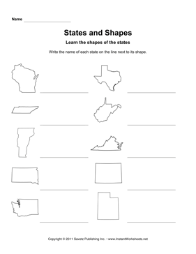 States Shapes WI UT