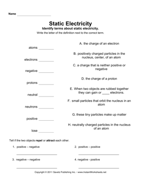 Static Electricity  Instant Worksheets