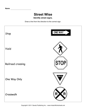 Printables Traffic Signs Worksheets street signs instant worksheets