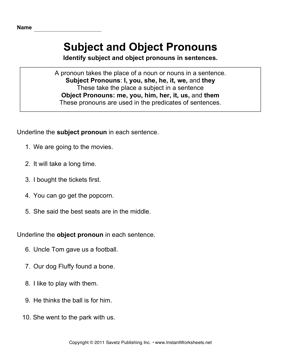 Worksheets Subject Pronoun Worksheets subject object pronouns instant worksheets