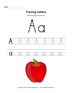 Tracing Letters A