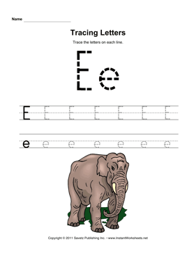 Tracing Letters E