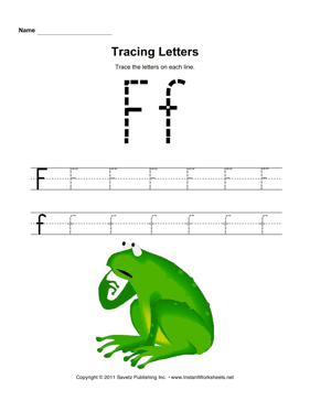 Tracing Letters F