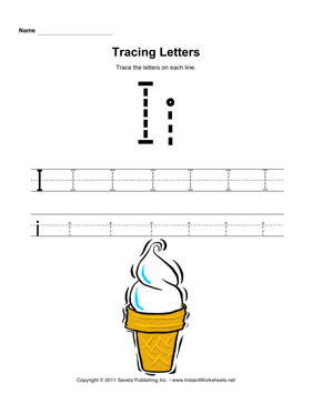 Tracing Letters I — Instant Worksheets