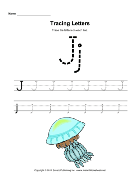 Tracing Letters J — Instant Worksheets