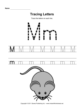 Letter M Tracing Worksheets - Laptuoso