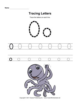 Tracing Letters O — Instant Worksheets