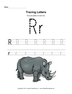 Tracing Letters R