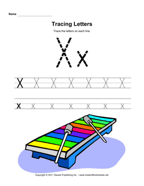 Tracing Letters X — Instant Worksheets
