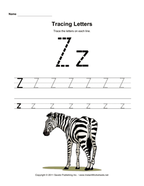 Tracing Letters Z — Instant Worksheets