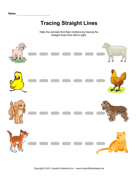 Tracing Straight Lines — Instant Worksheets