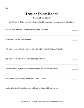 True Or False Bonds